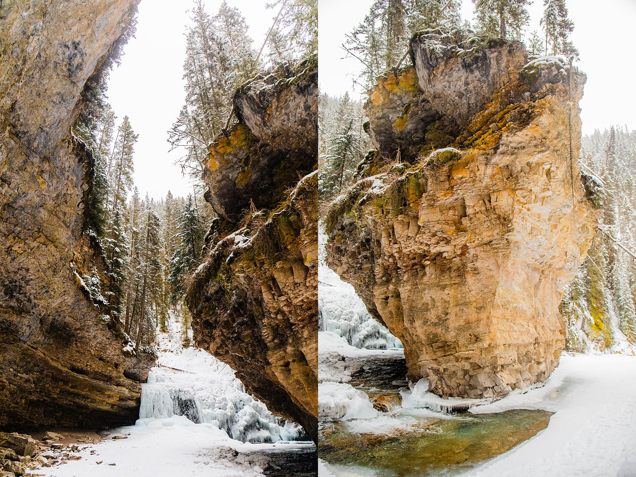 winter, alberta, visit alberta, johnston canyon, johnson canyon winter, ice walk, lower falls, upper falls, banff, banff national park, visit banff in the winter, secret cave